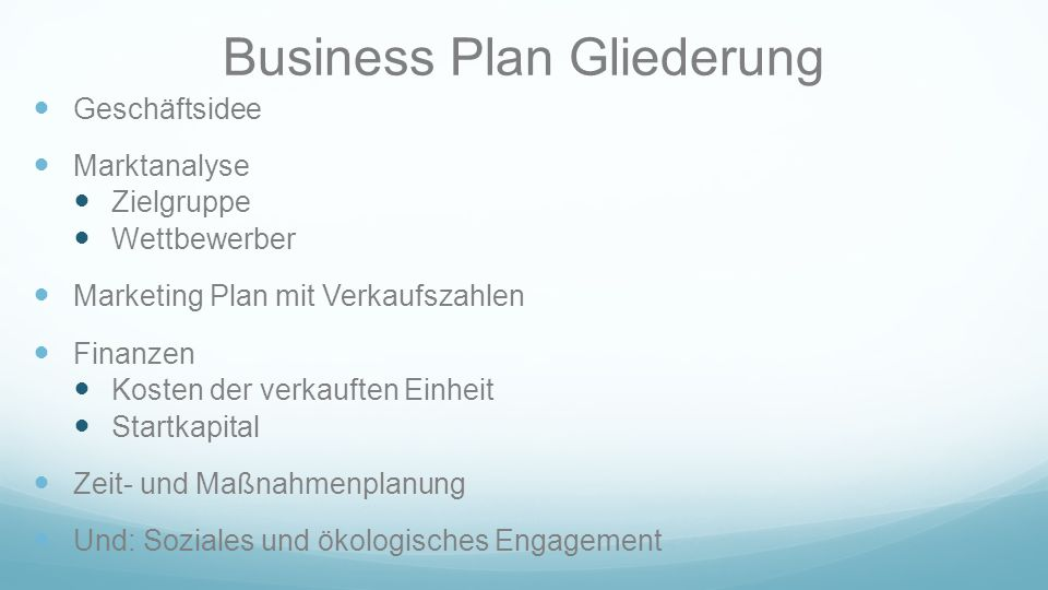 Business Plan Gliederung