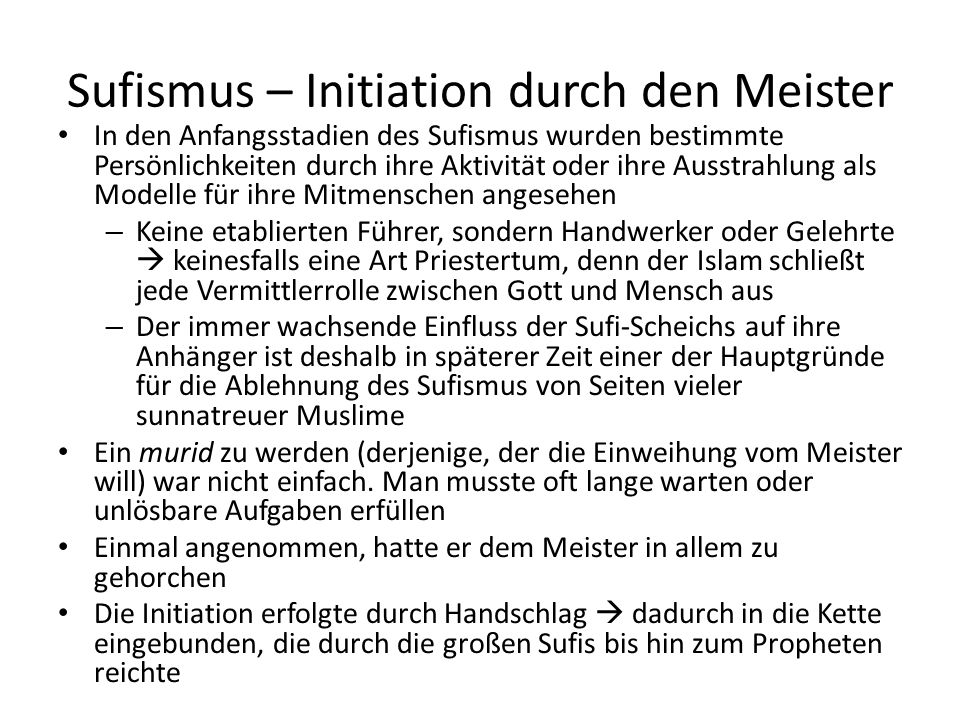 Sufismus – Initiation durch den Meister