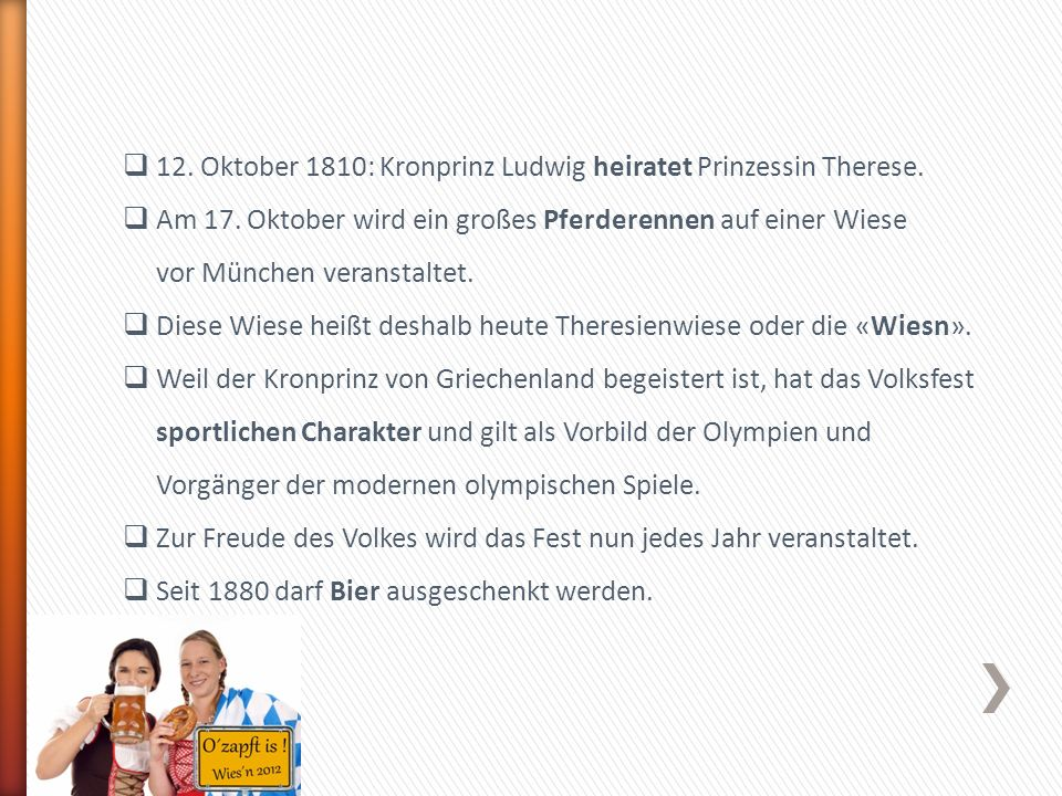 12. Oktober 1810: Kronprinz Ludwig heiratet Prinzessin Therese.