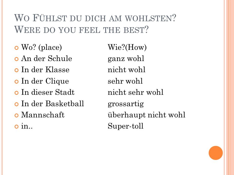 Wo Fühlst du dich am wohlsten Were do you feel the best