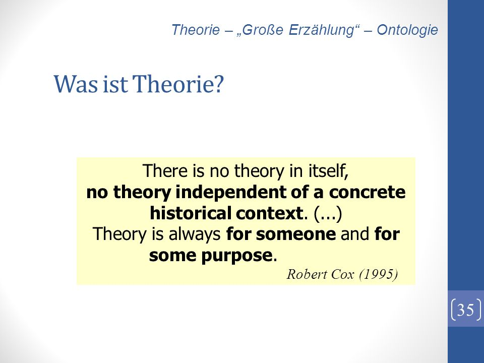 Was ist Theorie There is no theory in itself,