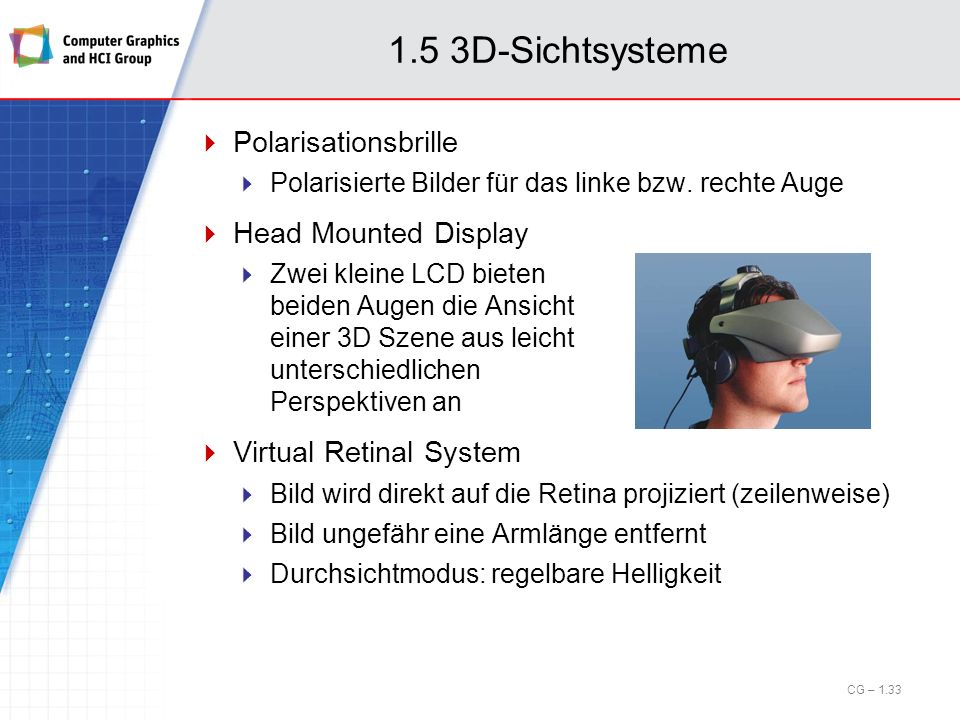 1.5 3D-Sichtsysteme Polarisationsbrille Head Mounted Display