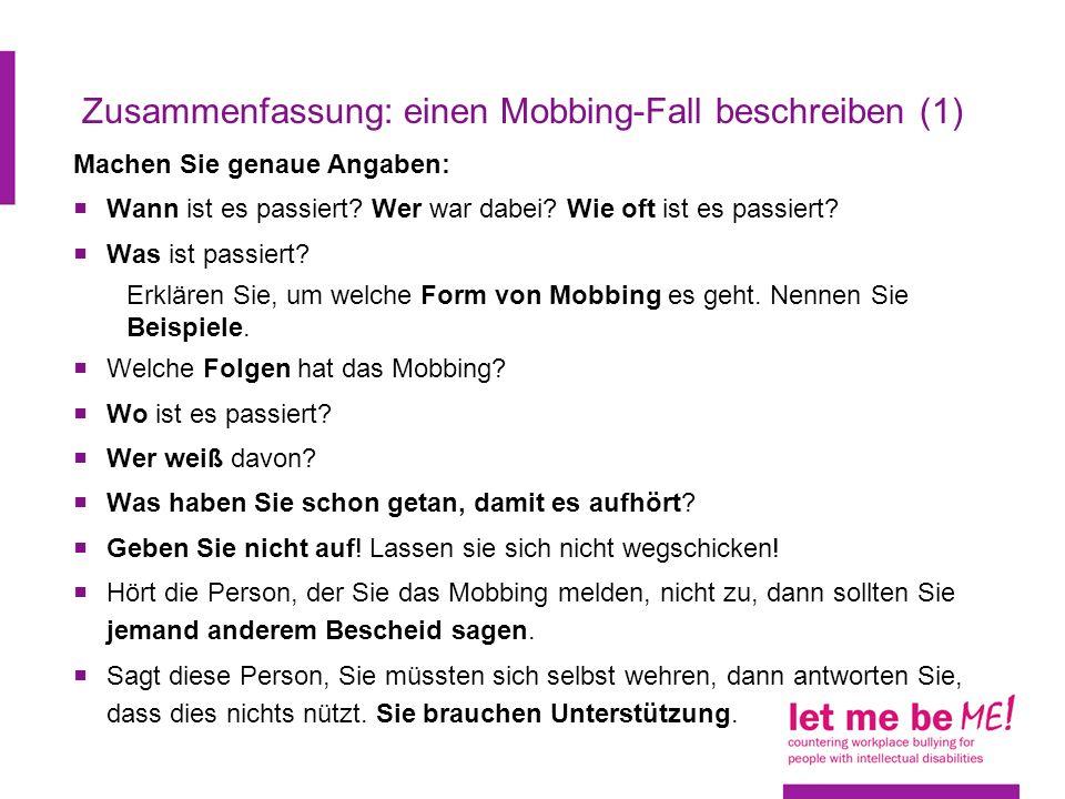 zusammenfassung einen mobbing fall beschreiben 1 - Mobbing Am Arbeitsplatz Beispiele