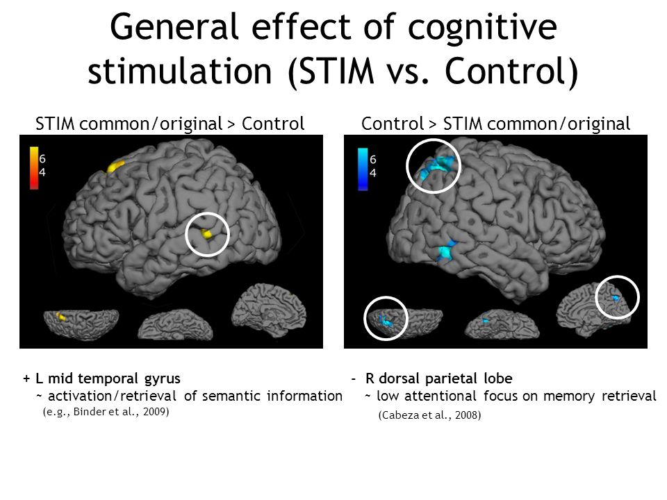 General effect of cognitive stimulation (STIM vs. Control)