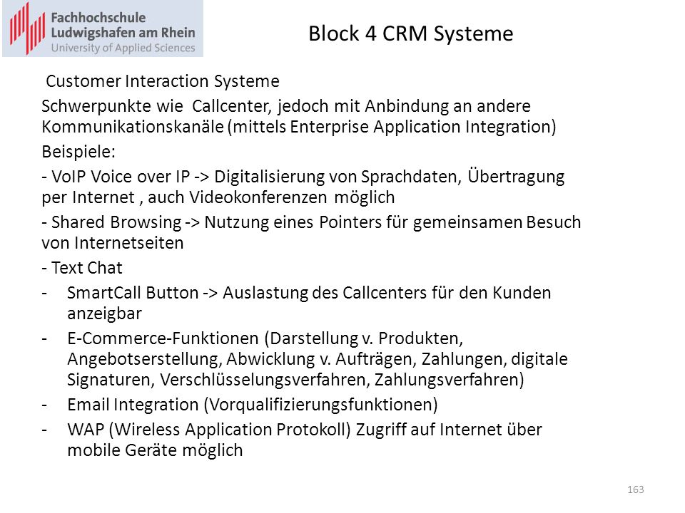 Block 4 CRM Systeme Customer Interaction Systeme