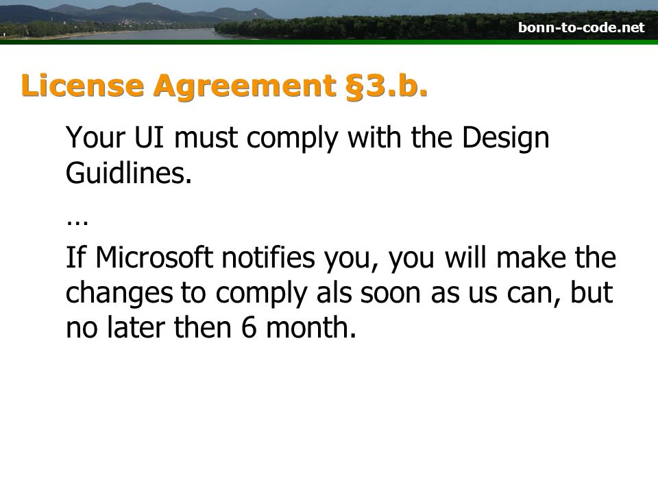 License Agreement §3.b.