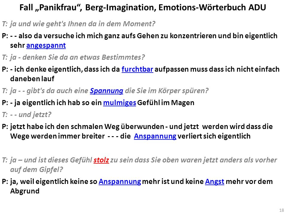 "Fall ""Panikfrau , Berg-Imagination, Emotions-Wörterbuch ADU"
