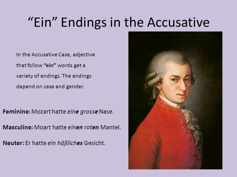 Ein Endings in the Accusative