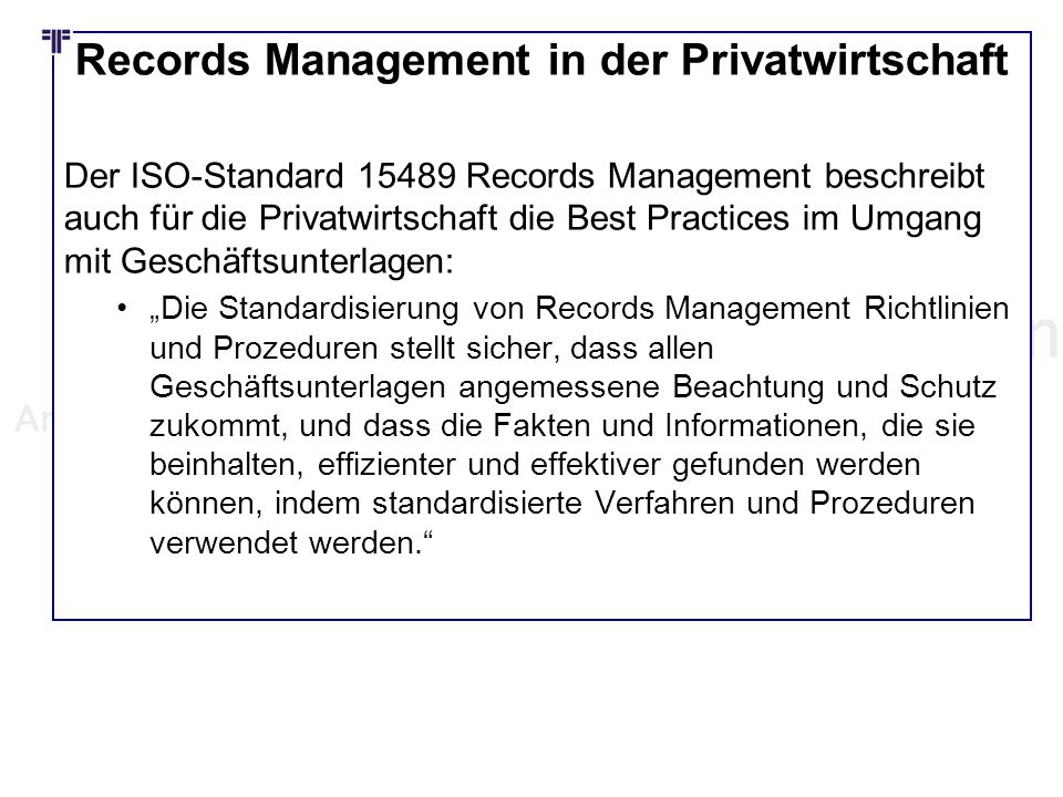 Records Management in der Privatwirtschaft