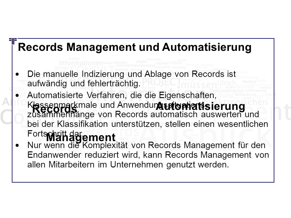 Automatisierung Records Management