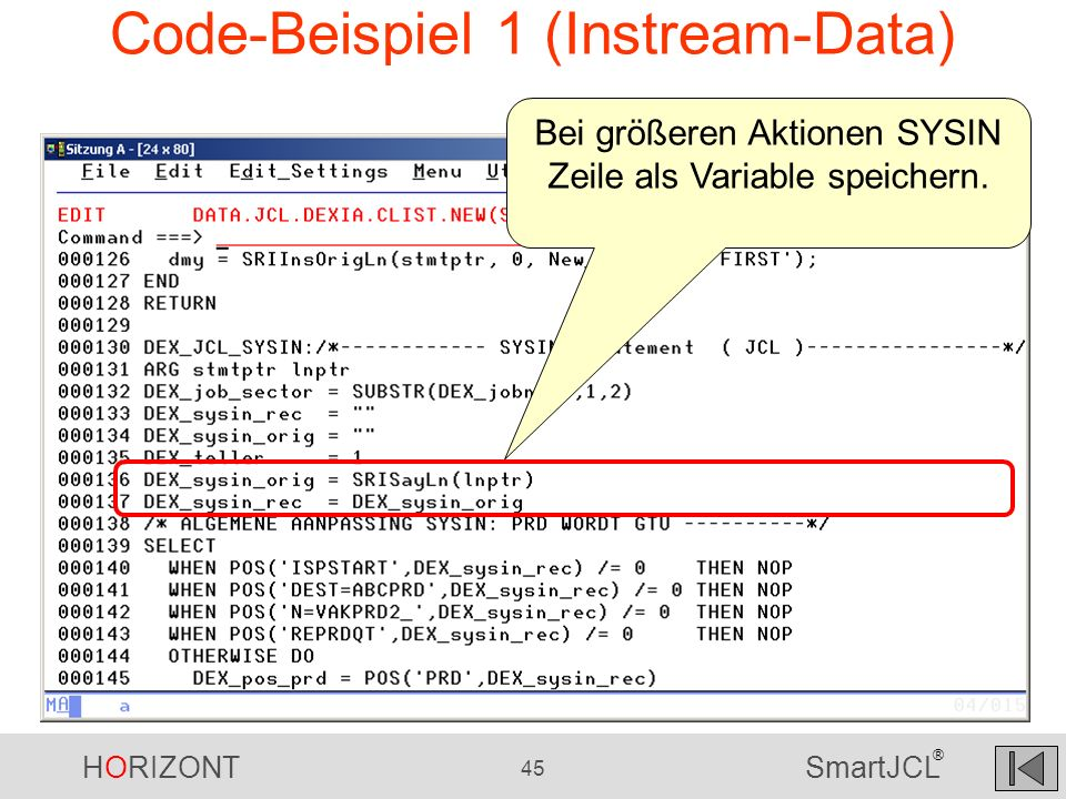 Code-Beispiel 1 (Instream-Data)