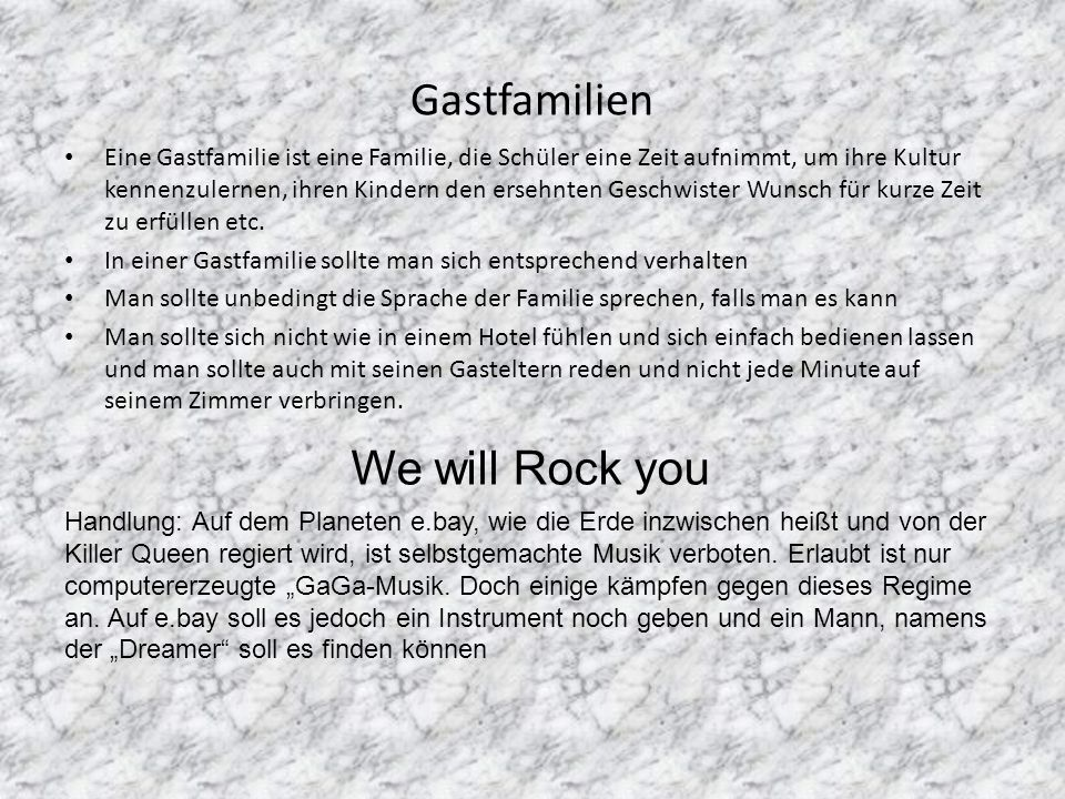 Gastfamilien We will Rock you