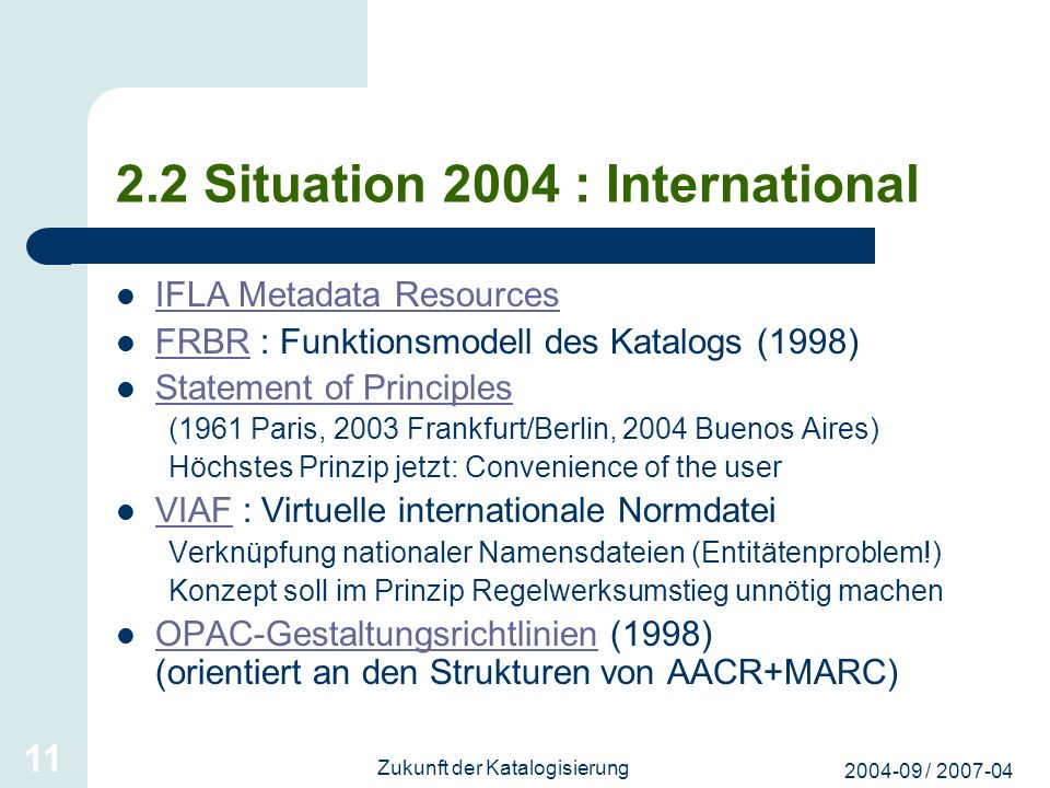 2.2 Situation 2004 : International