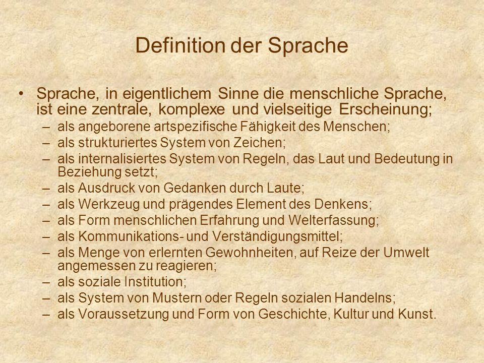 Definition der Sprache