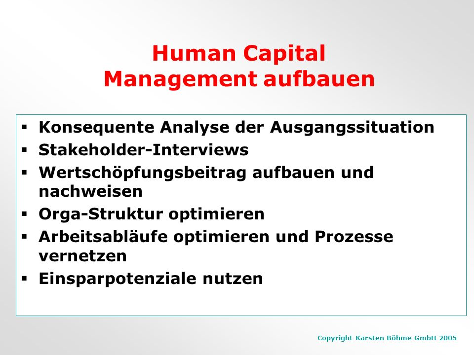 Human Capital Management aufbauen