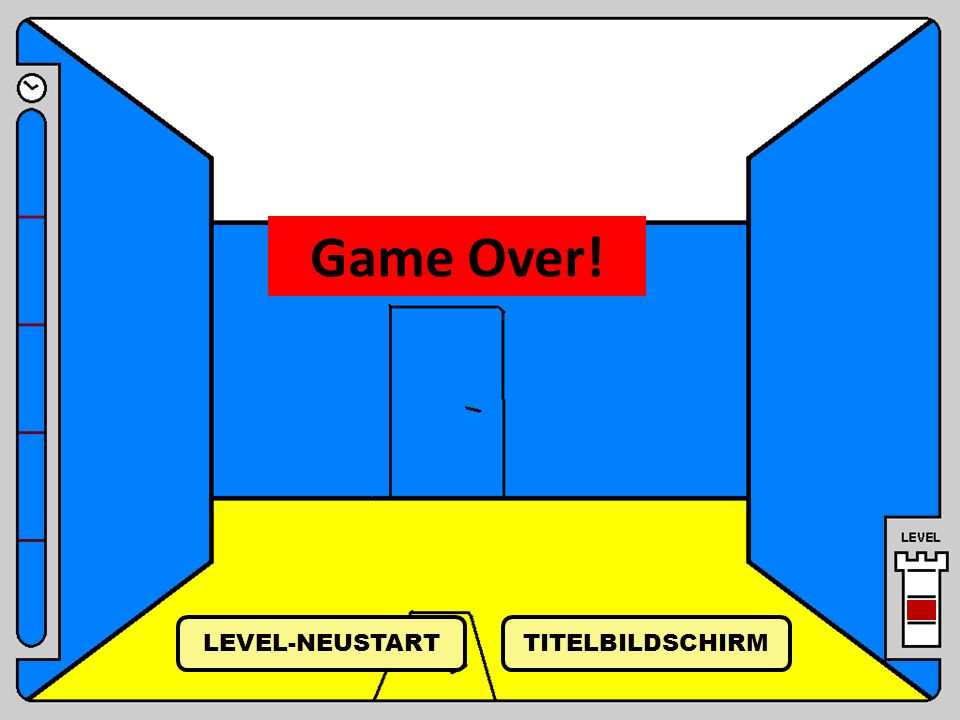 Game Over! LEVEL-NEUSTART TITELBILDSCHIRM