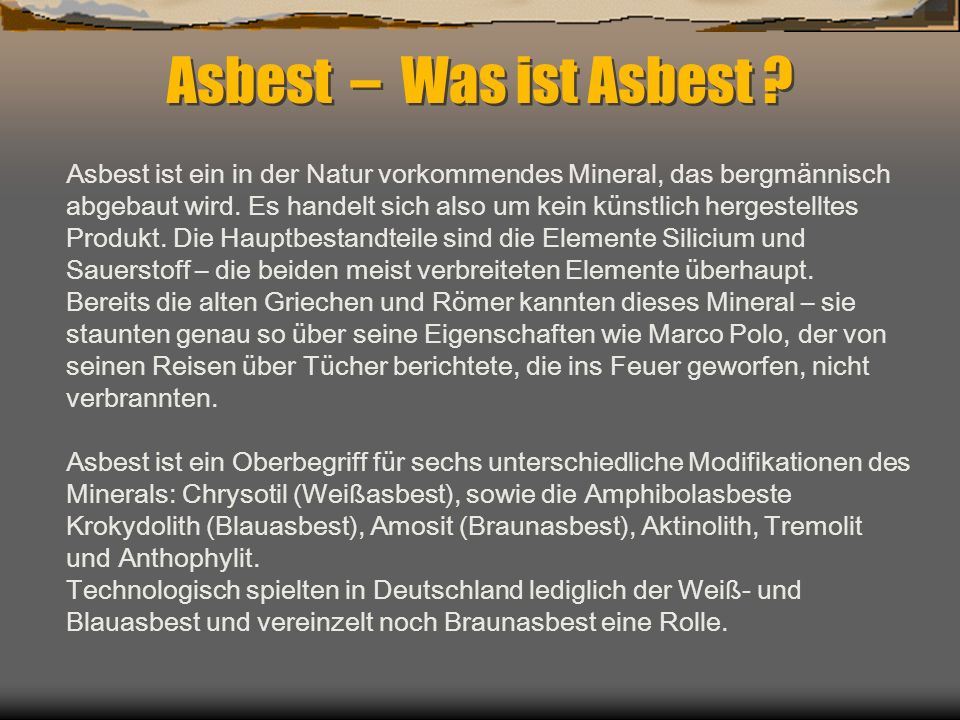 Asbest Was Ist Asbest Asbest Ist Ein In Der Natur Vorkommendes
