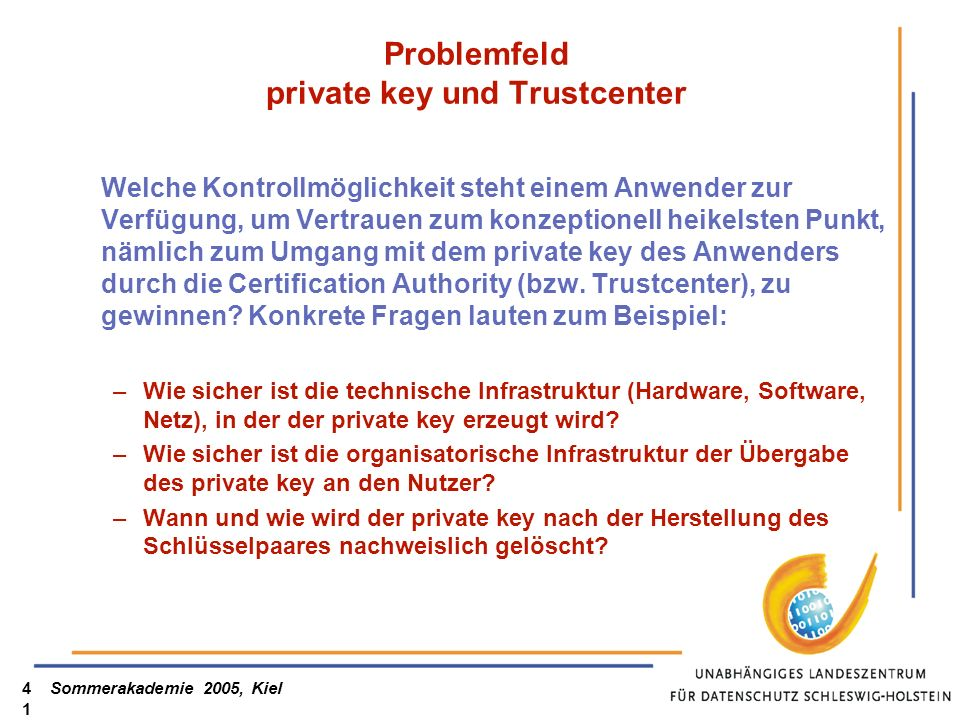 Problemfeld private key und Trustcenter