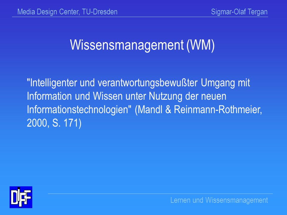 Wissensmanagement (WM)