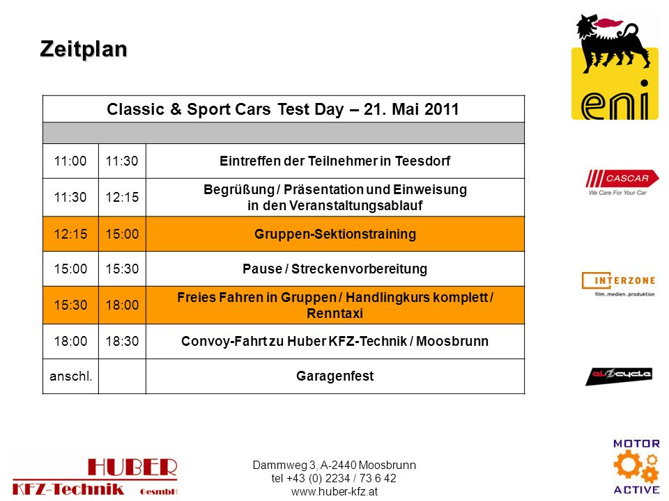 Zeitplan Classic & Sport Cars Test Day – 21. Mai :00 11:30