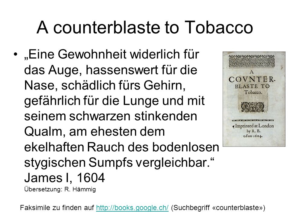 A counterblaste to Tobacco
