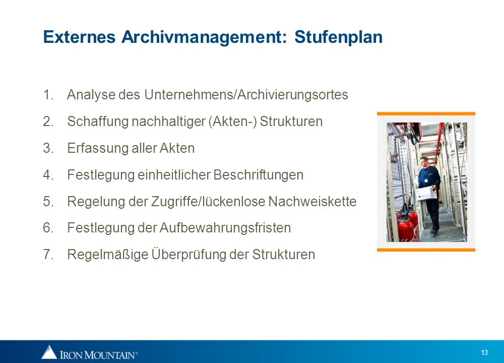 Externes Archivmanagement: Stufenplan