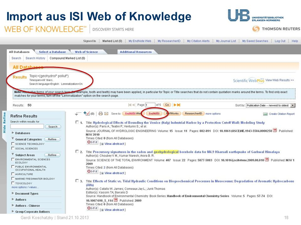 Import aus ISI Web of Knowledge