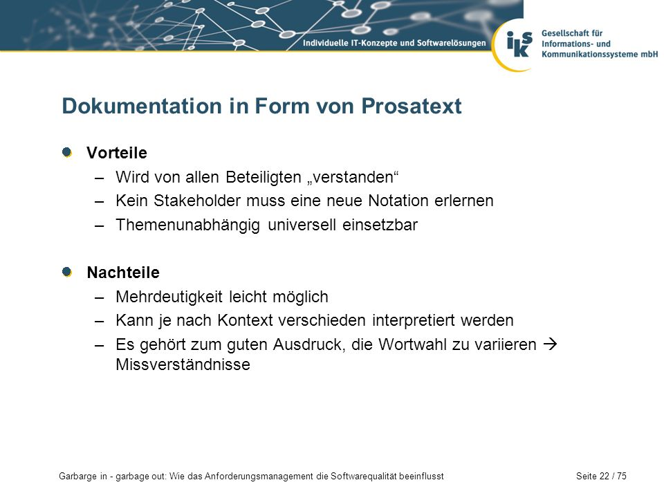 Dokumentation in Form von Prosatext
