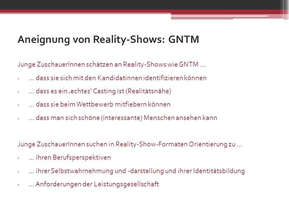 Aneignung von Reality-Shows: GNTM