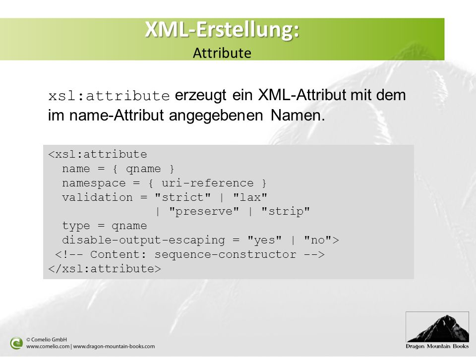 XML-Erstellung: Attribute
