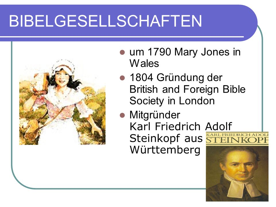 BIBELGESELLSCHAFTEN um 1790 Mary Jones in Wales