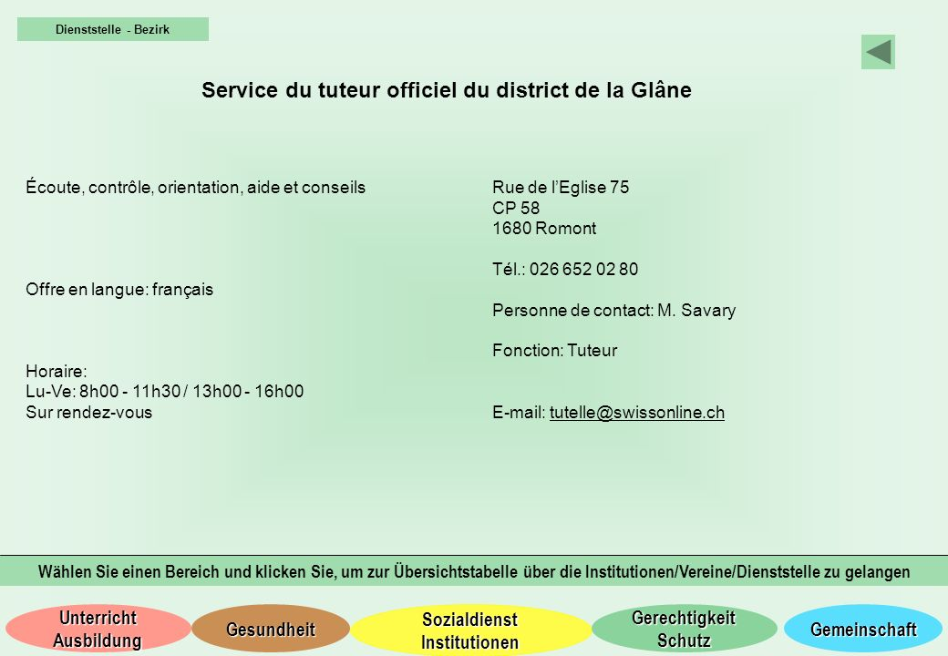Service du tuteur officiel du district de la Glâne