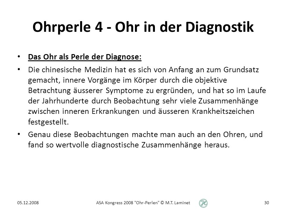 Ohrperle 4 - Ohr in der Diagnostik