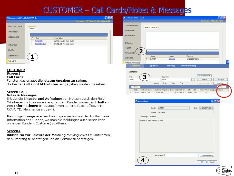 CUSTOMER – Call Cards/Notes & Messages