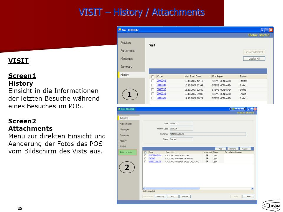 VISIT – History / Attachments