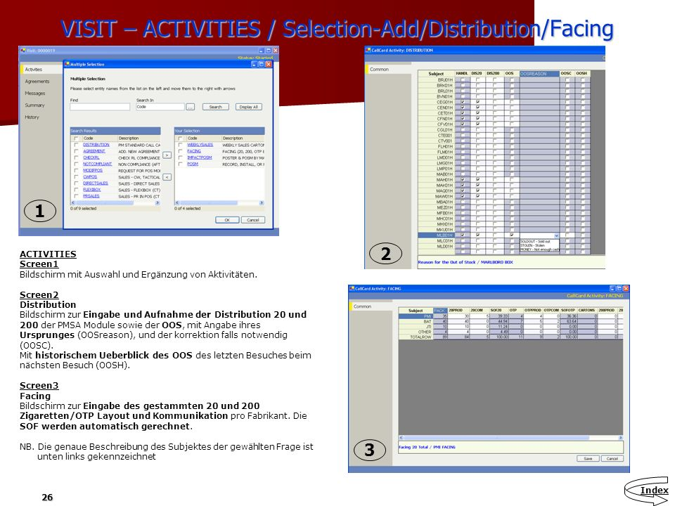 VISIT – ACTIVITIES / Selection-Add/Distribution/Facing
