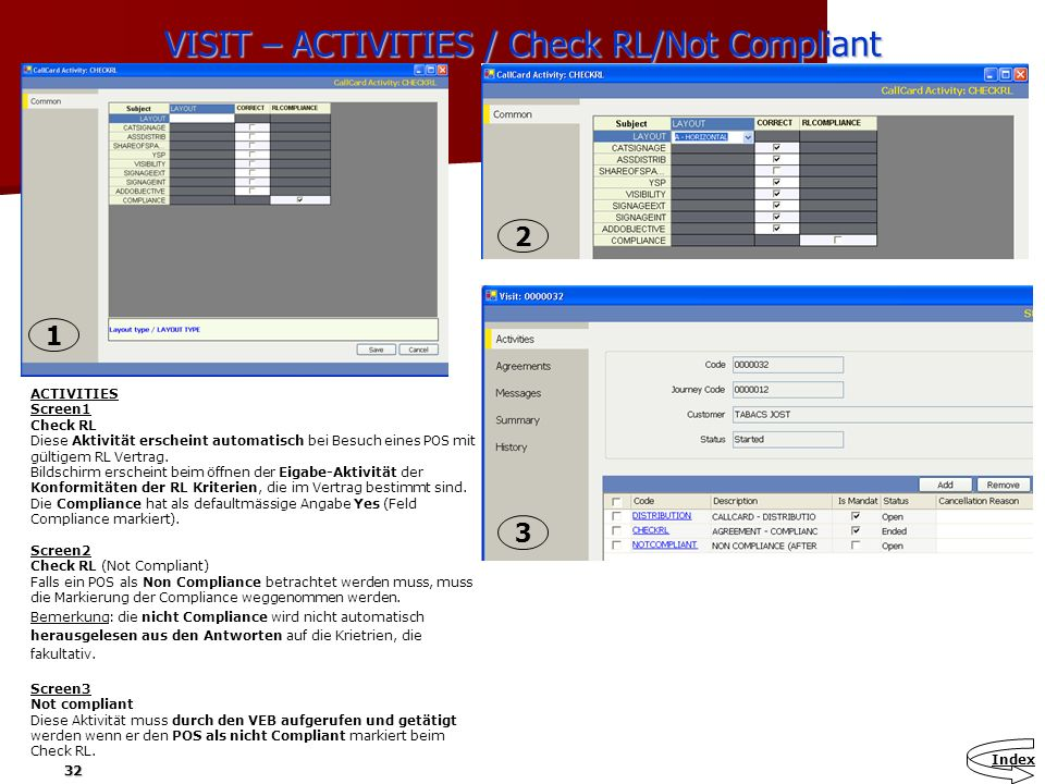 VISIT – ACTIVITIES / Check RL/Not Compliant