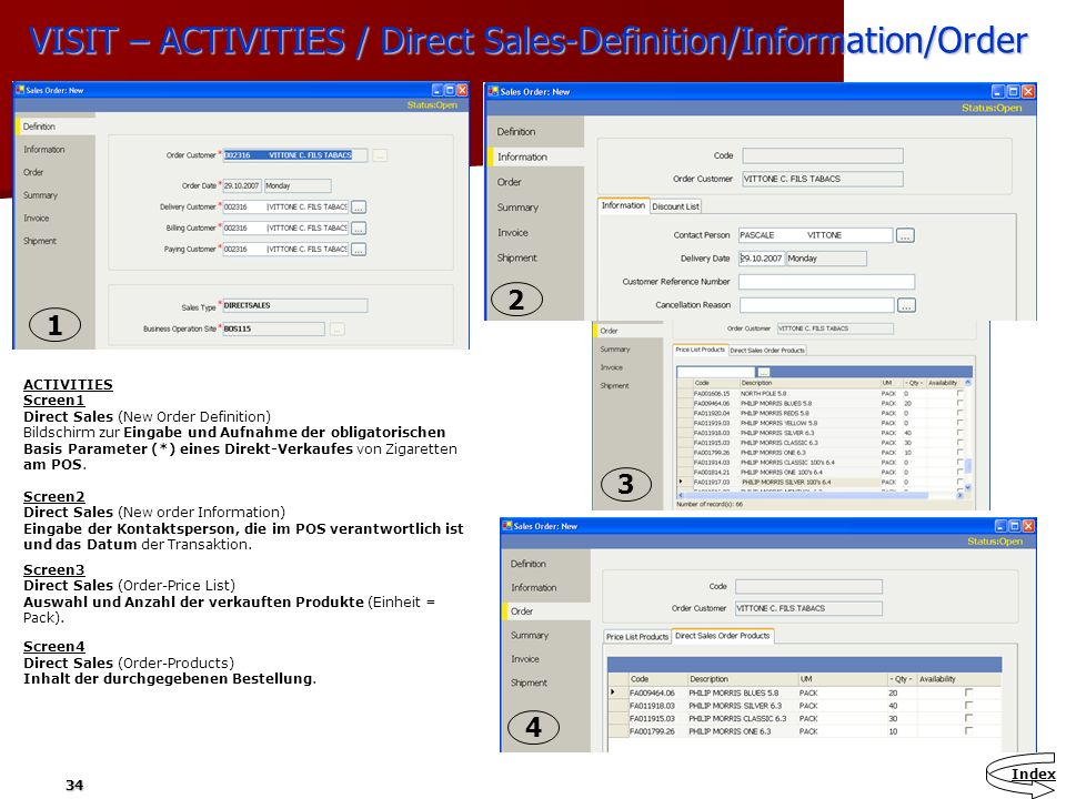 VISIT – ACTIVITIES / Direct Sales-Definition/Information/Order