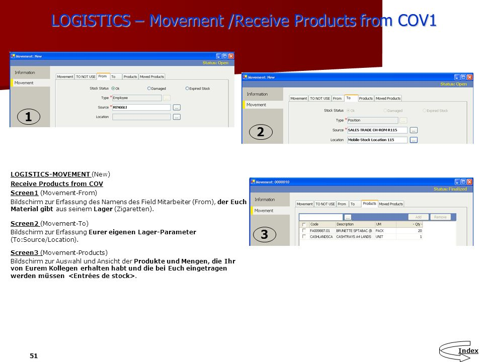 LOGISTICS – Movement /Receive Products from COV1