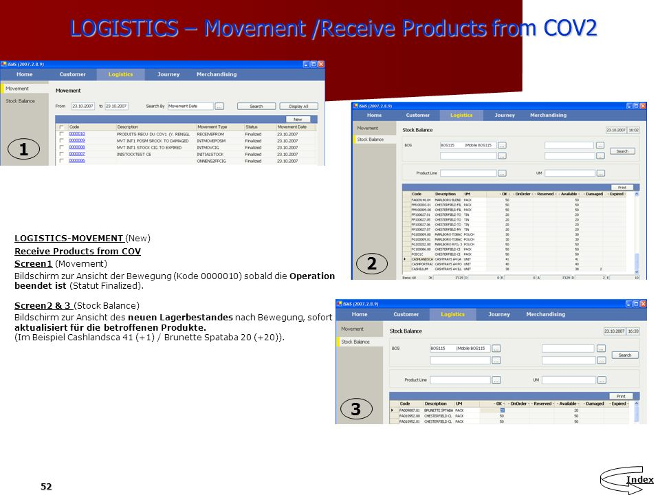LOGISTICS – Movement /Receive Products from COV2