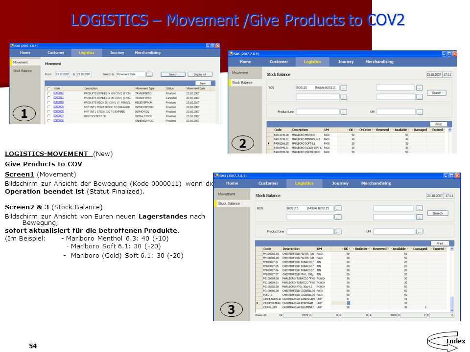 LOGISTICS – Movement /Give Products to COV2