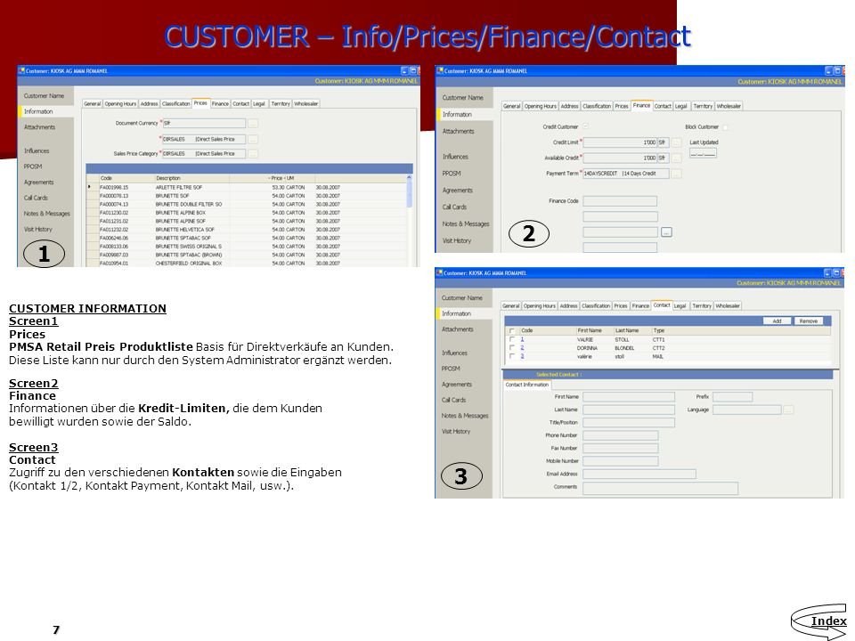 CUSTOMER – Info/Prices/Finance/Contact