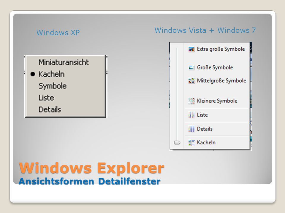 Windows Explorer Ansichtsformen Detailfenster