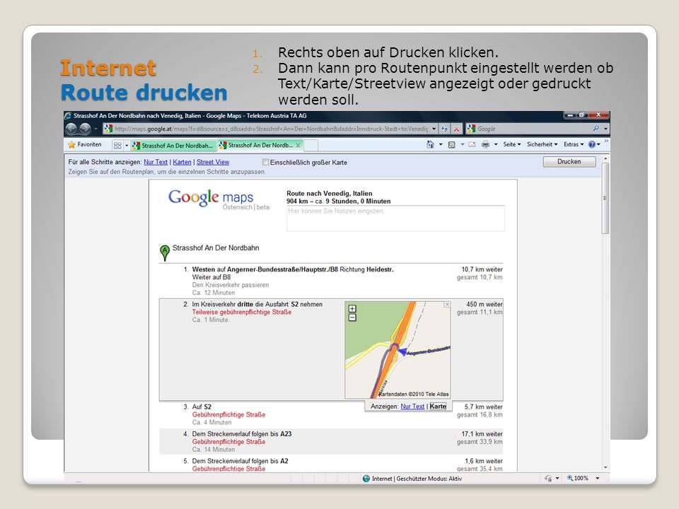 Internet Route drucken