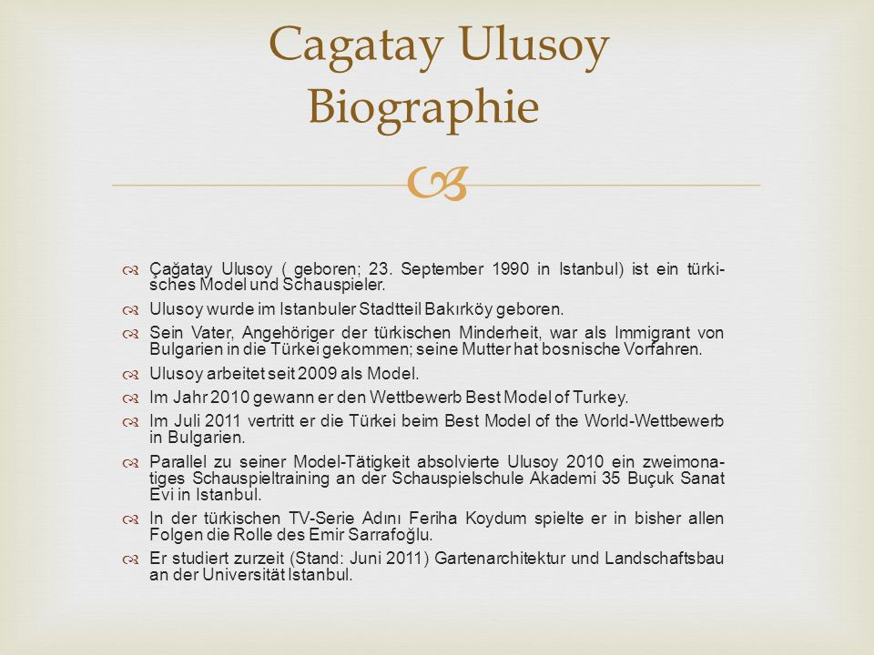 Cagatay Ulusoy Biographie