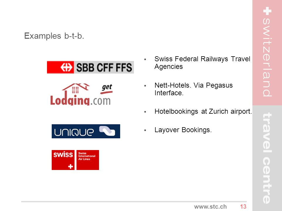 Examples b-t-b. Swiss Federal Railways Travel Agencies