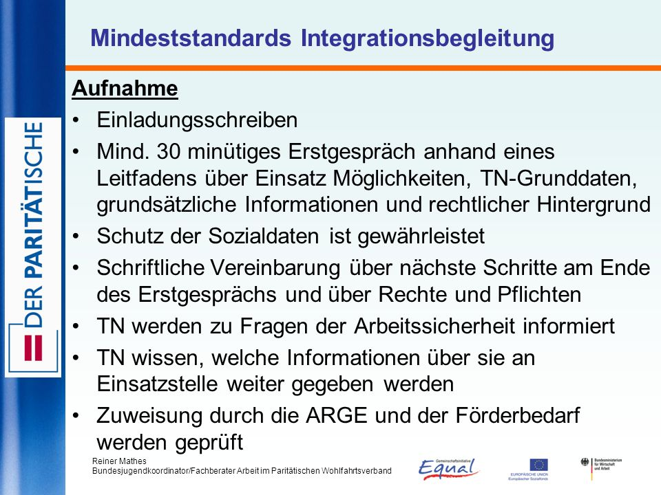 Mindeststandards Integrationsbegleitung