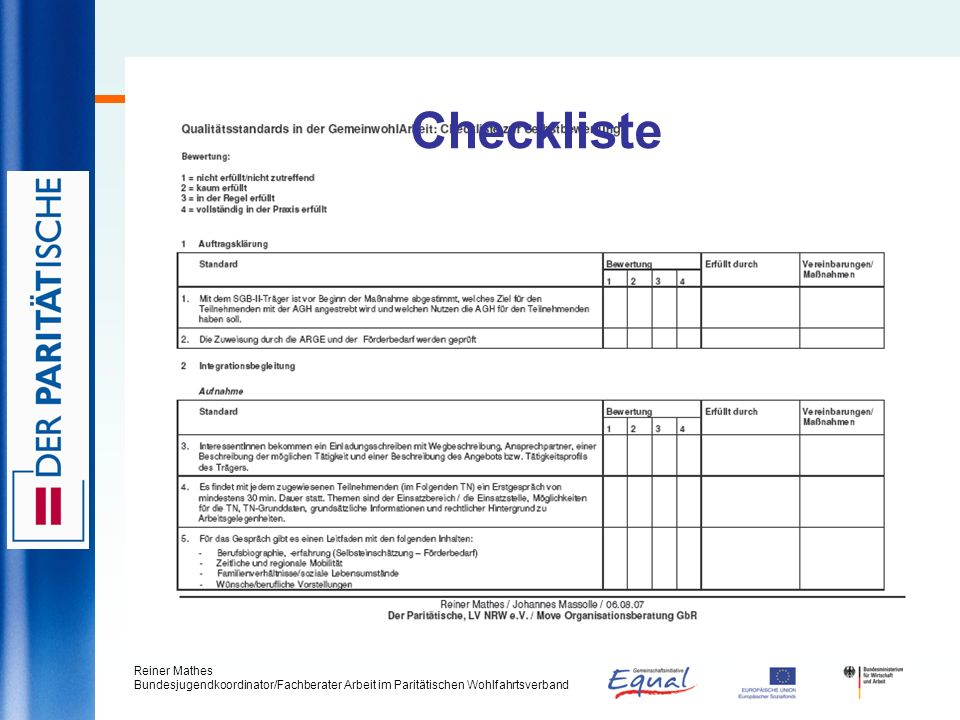 Checkliste Reiner Mathes