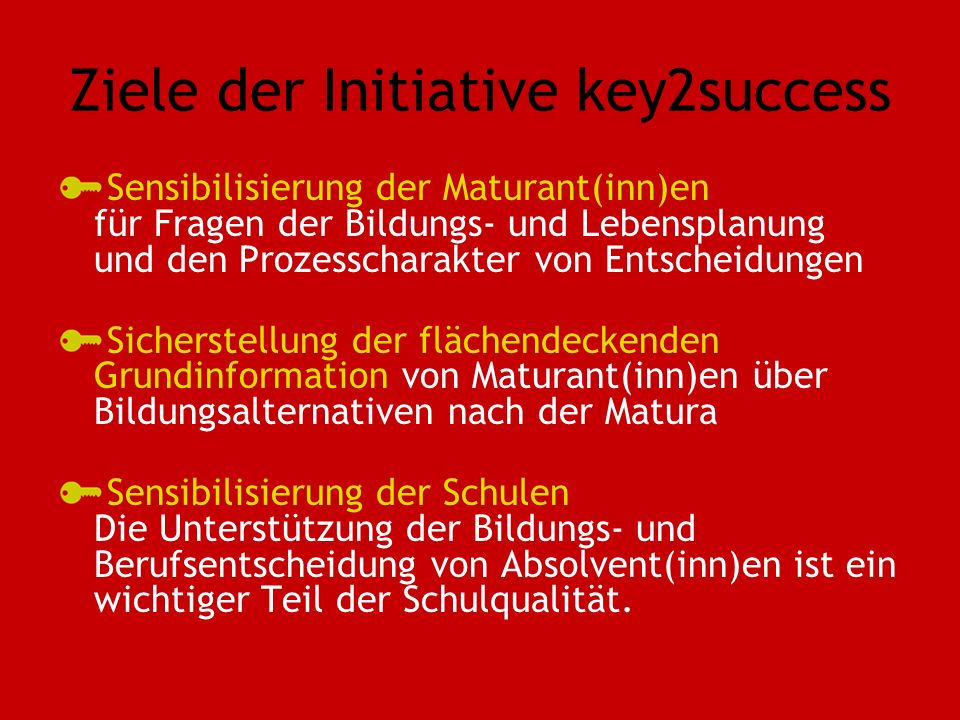 Ziele der Initiative key2success