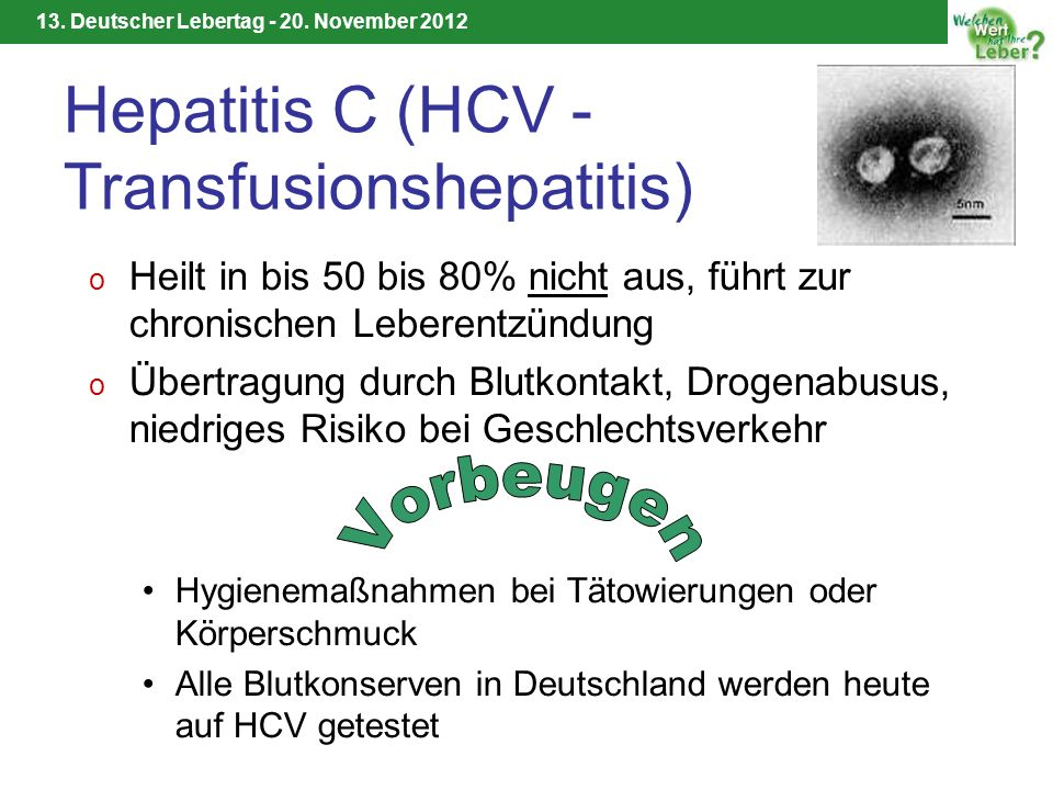 Hepatitis C (HCV - Transfusionshepatitis)